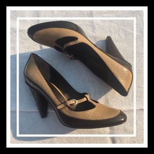 Joan & David 2 patent leather wood stack heels